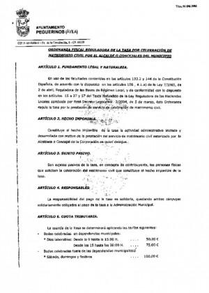 Ordenanza celebracion matrimonio civil 2012