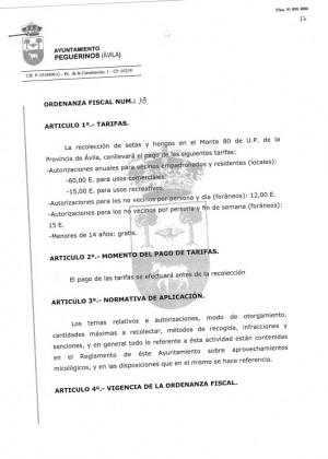 Ordenanza fiscal 13 y reglamento micologico
